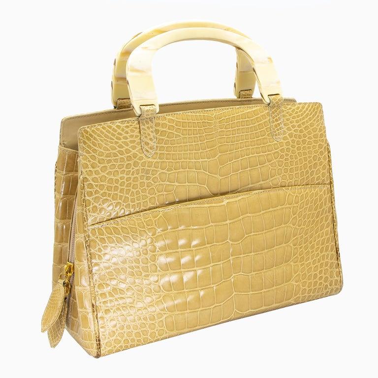 Brown Lana Marks Tan Crocodile Handbag For Sale