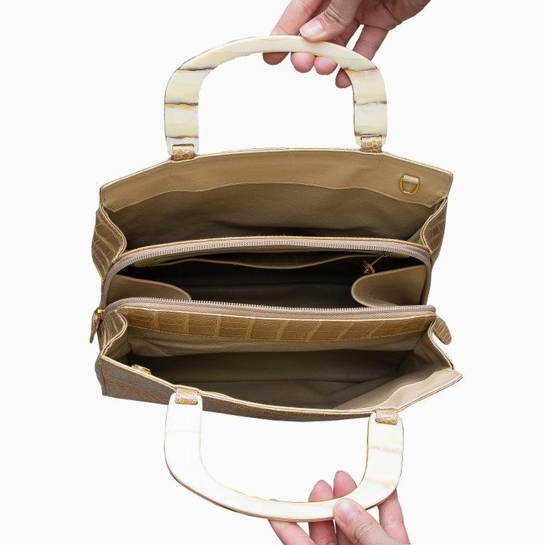 Women's Lana Marks Tan Crocodile Handbag For Sale
