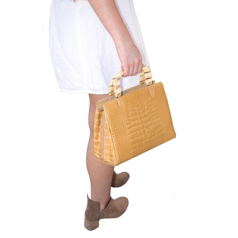 Lana Marks Tan Crocodile Handbag For Sale 1