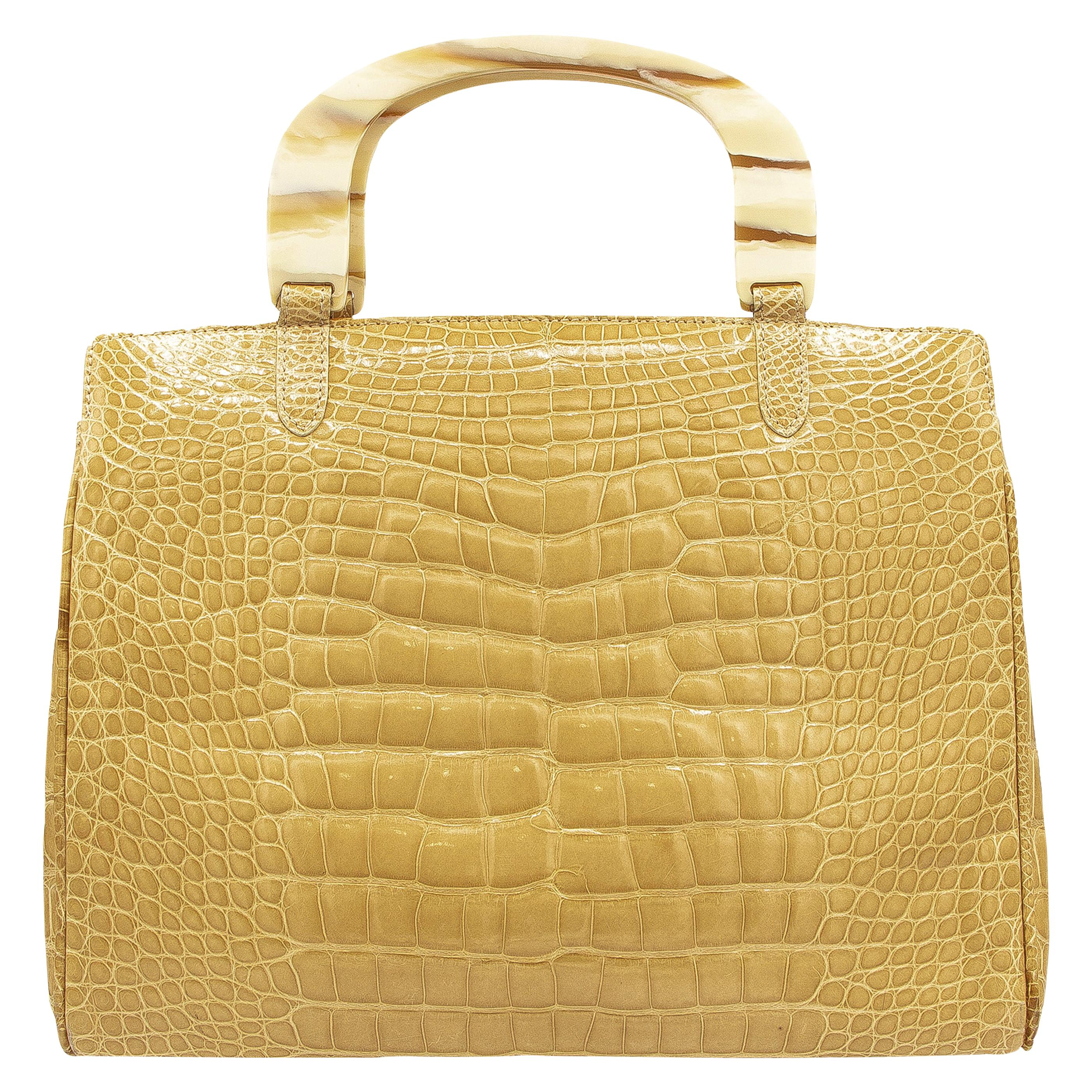 Lana Marks Tan Crocodile Handbag