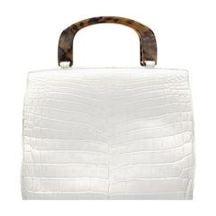 Lana Marks White Crocodile Handbag