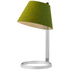 Lana Small Table Lamp in Moss and Grey with Chrome Base by Pablo Designs