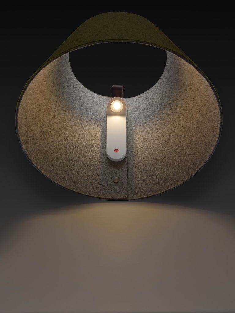 Modern Lana Small Wall Light in Stone & Grey by Pablo Designs For Sale