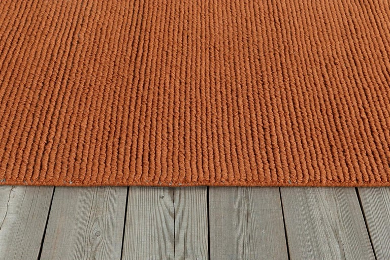 Indian Lanagrossa, Modern Rug, in Pure Wool in Ivory Orange Hues, by Deanna Comellini For Sale