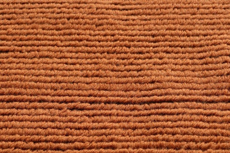 Woven Lanagrossa, Modern Rug, in Pure Wool in Ivory Orange Hues, by Deanna Comellini For Sale