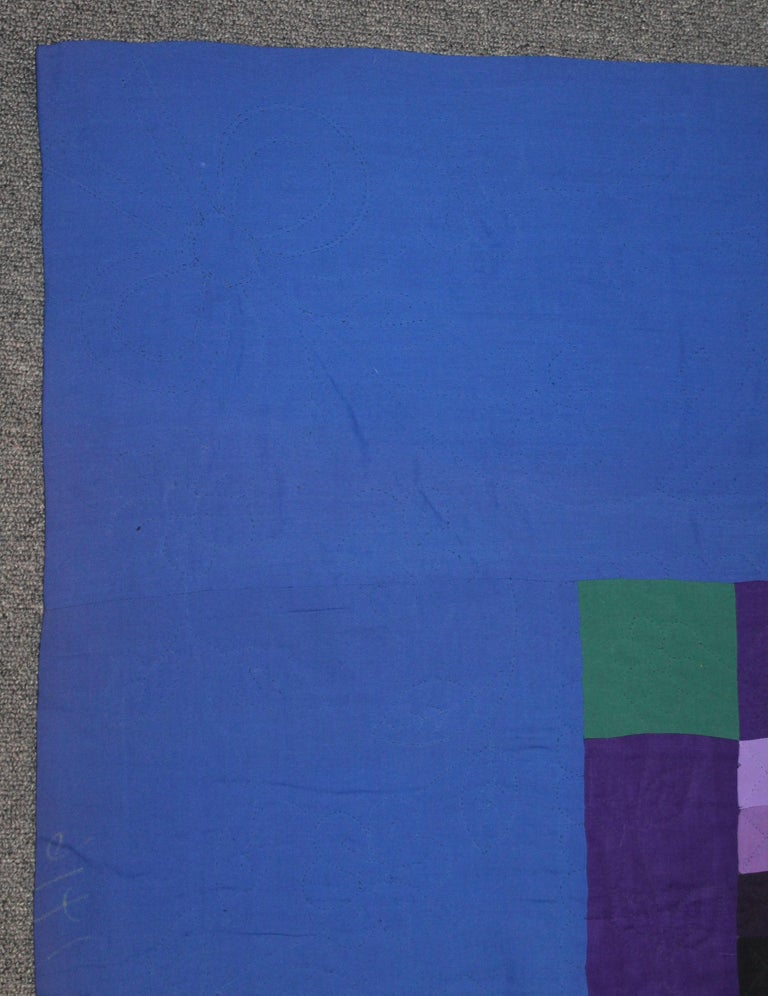 Antique Amish quilt from Lancaster County, Pennsylvania in small one inch squares in wool and cotton. The piecework and quilting is very fine and great condition. Fantastic small piecing.