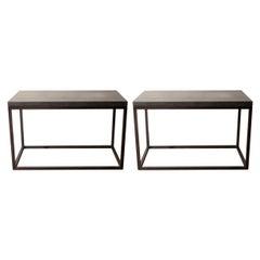 Lance Thompson Pair of Belgian Bluestone Solid Blackened Steel Frame Side Tables