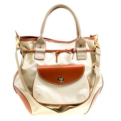 Lancel Beige/Brown Nylon And Leather Top Handle Bag