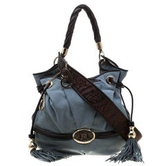 Lancel Blue/Brown Suede and Leather Le Brigitte Bardot Hobo