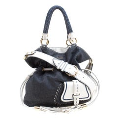 Lancel Blue/White Denim and Leather Premiere Flirt Bucket Shoulder Bag