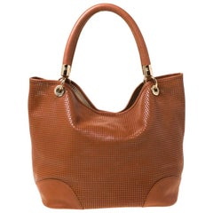 Lancel Brown Leather Perforated Shopper Tote
