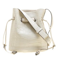 Lancel Off White Croc Embossed Leather Drawstring Bucket Bag