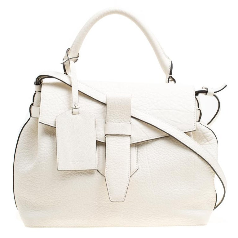 69f96a514e Lancel Off White Grained Leather Medium Charlie De Lancel Top Handle Bag  For Sale at 1stdibs