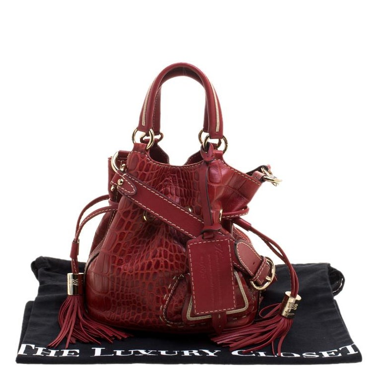 e4b85746a5a Lancel Red Croc Embossed Leather Small Premier Flirt Bucket Bag For Sale 6