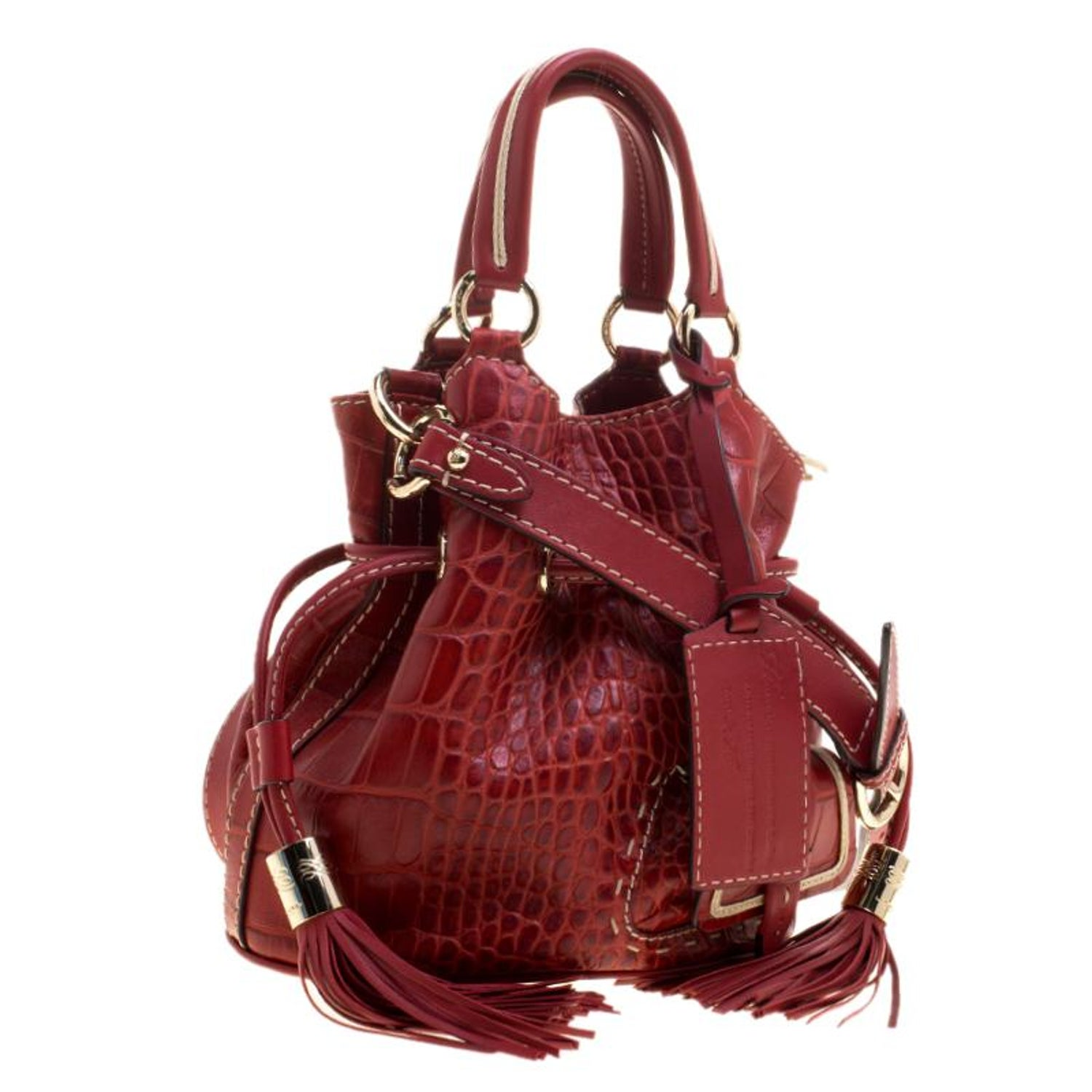 78357e7f94c Lancel Red Croc Embossed Leather Small Premier Flirt Bucket Bag For Sale at  1stdibs