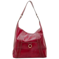 Lancel Red Leather Hobo