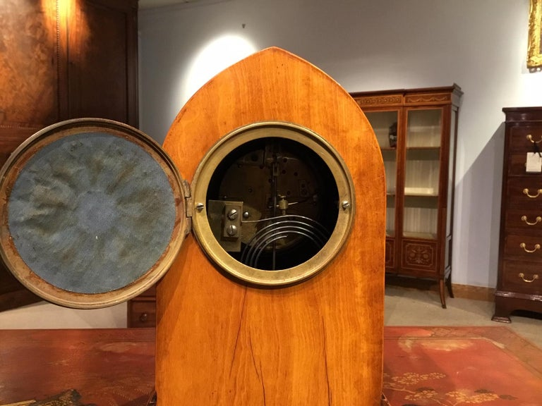 Lancet Shaped Inlaid Mantle Clock English Edwardian Period For Sale 1