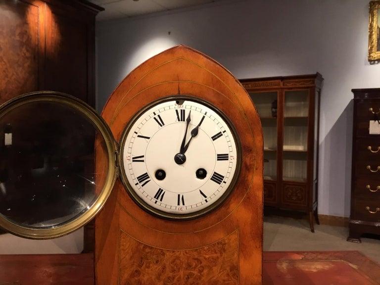 Lancet Shaped Inlaid Mantle Clock English Edwardian Period For Sale 3