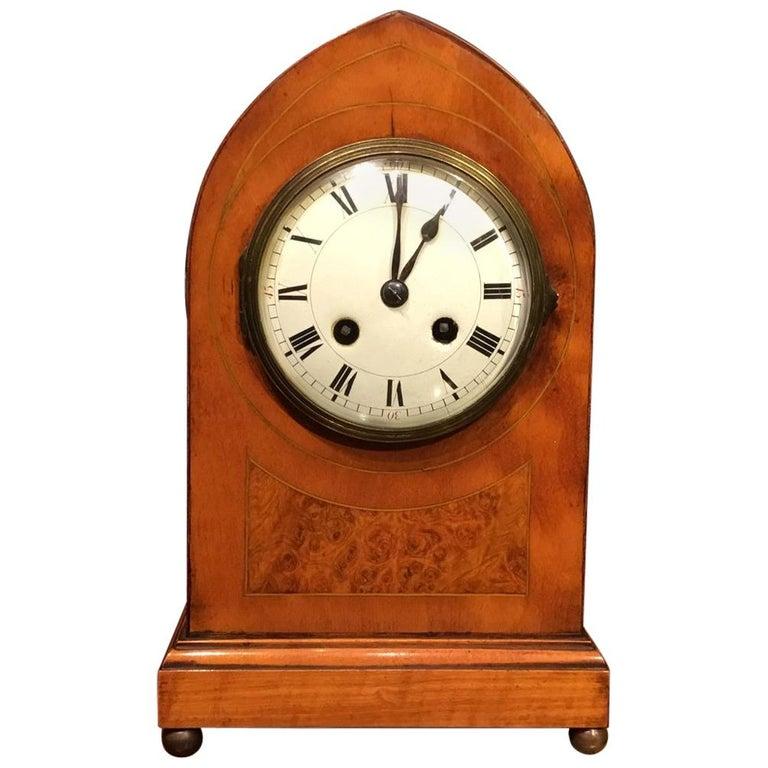 Lancet Shaped Inlaid Mantle Clock English Edwardian Period For Sale