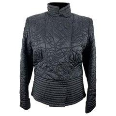 Lancetti Black Nylon Quilted Light Padded Jacket Size 44 IT
