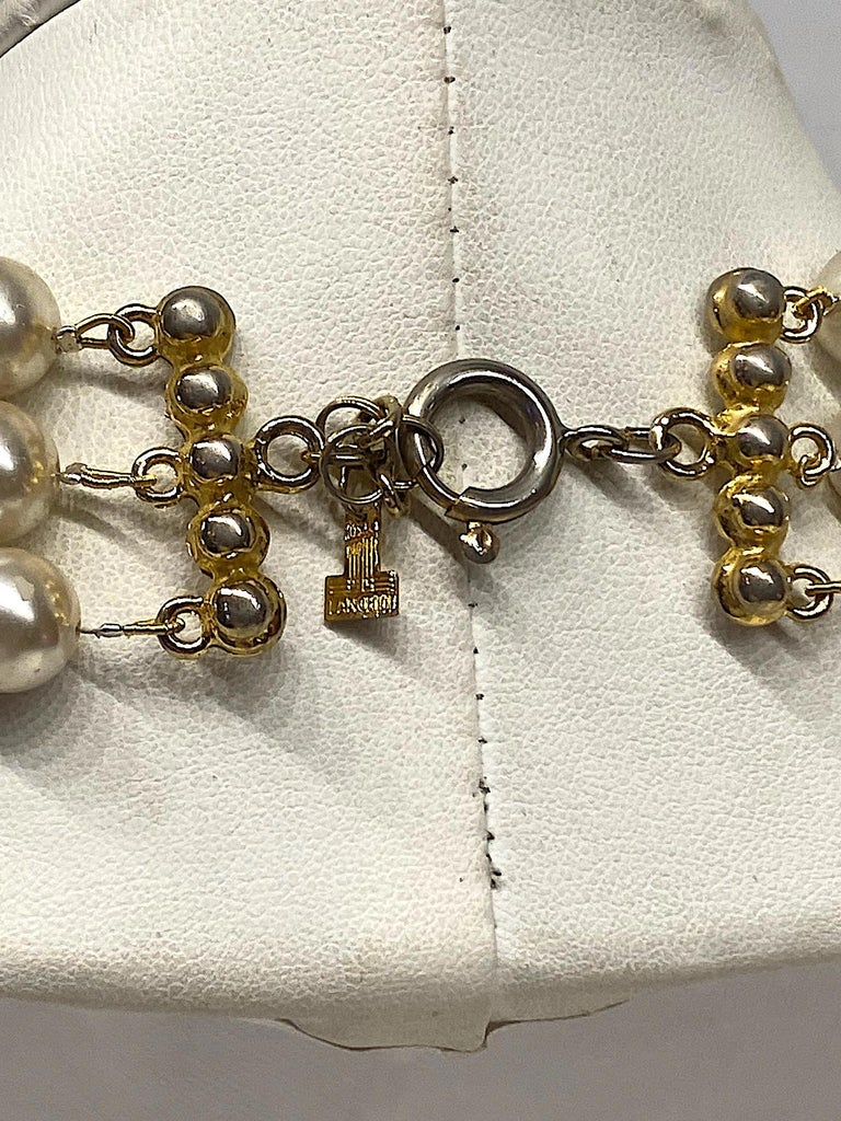 Lancetti of Italy 1980s Pearl and Rhinestone Necklace & Earrings For Sale 7