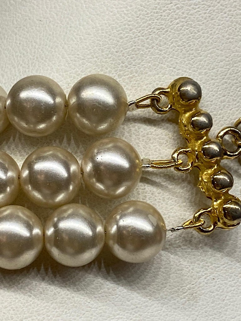 Lancetti of Italy 1980s Pearl and Rhinestone Necklace & Earrings For Sale 9