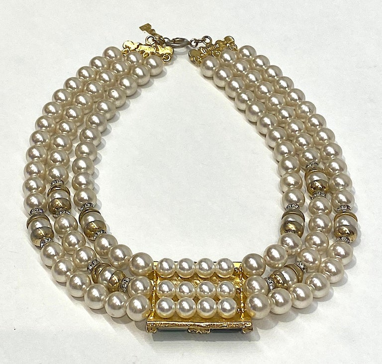 Lancetti of Italy 1980s Pearl and Rhinestone Necklace & Earrings For Sale 10