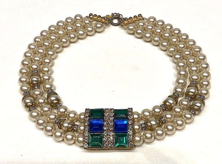 Lancetti of Italy 1980s Pearl and Rhinestone Necklace & Earrings For Sale 12