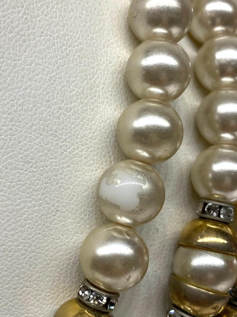 Lancetti of Italy 1980s Pearl and Rhinestone Necklace & Earrings For Sale 13