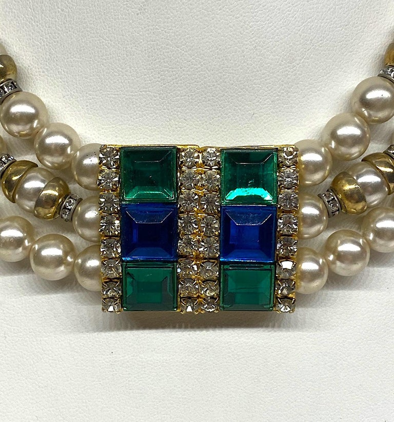 Bead Lancetti of Italy 1980s Pearl and Rhinestone Necklace & Earrings For Sale