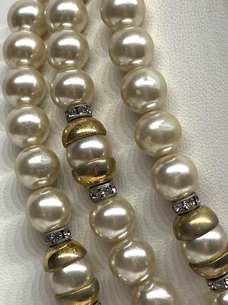 Women's Lancetti of Italy 1980s Pearl and Rhinestone Necklace & Earrings For Sale