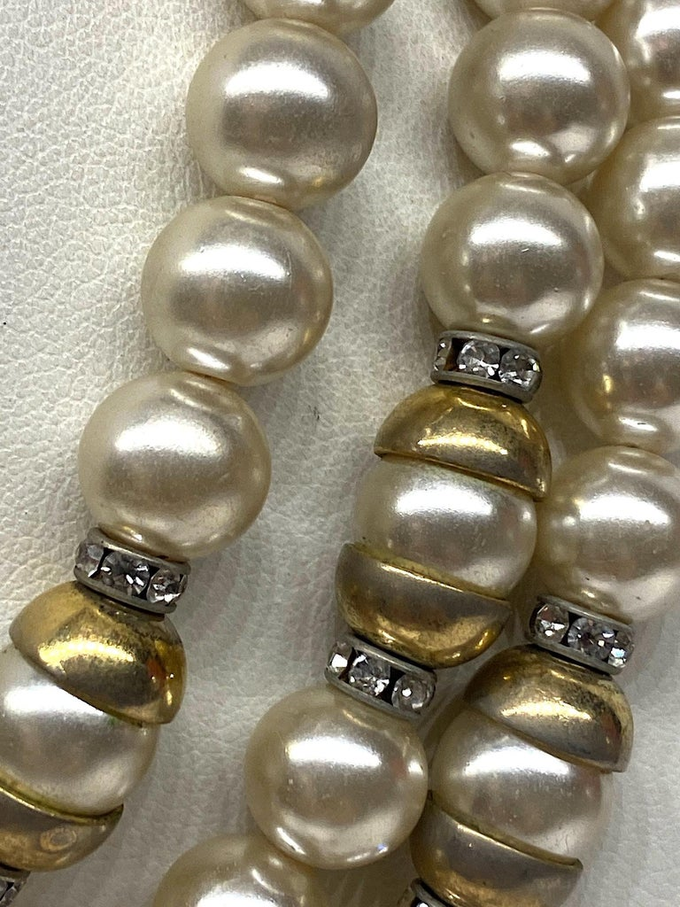 Lancetti of Italy 1980s Pearl and Rhinestone Necklace & Earrings For Sale 2