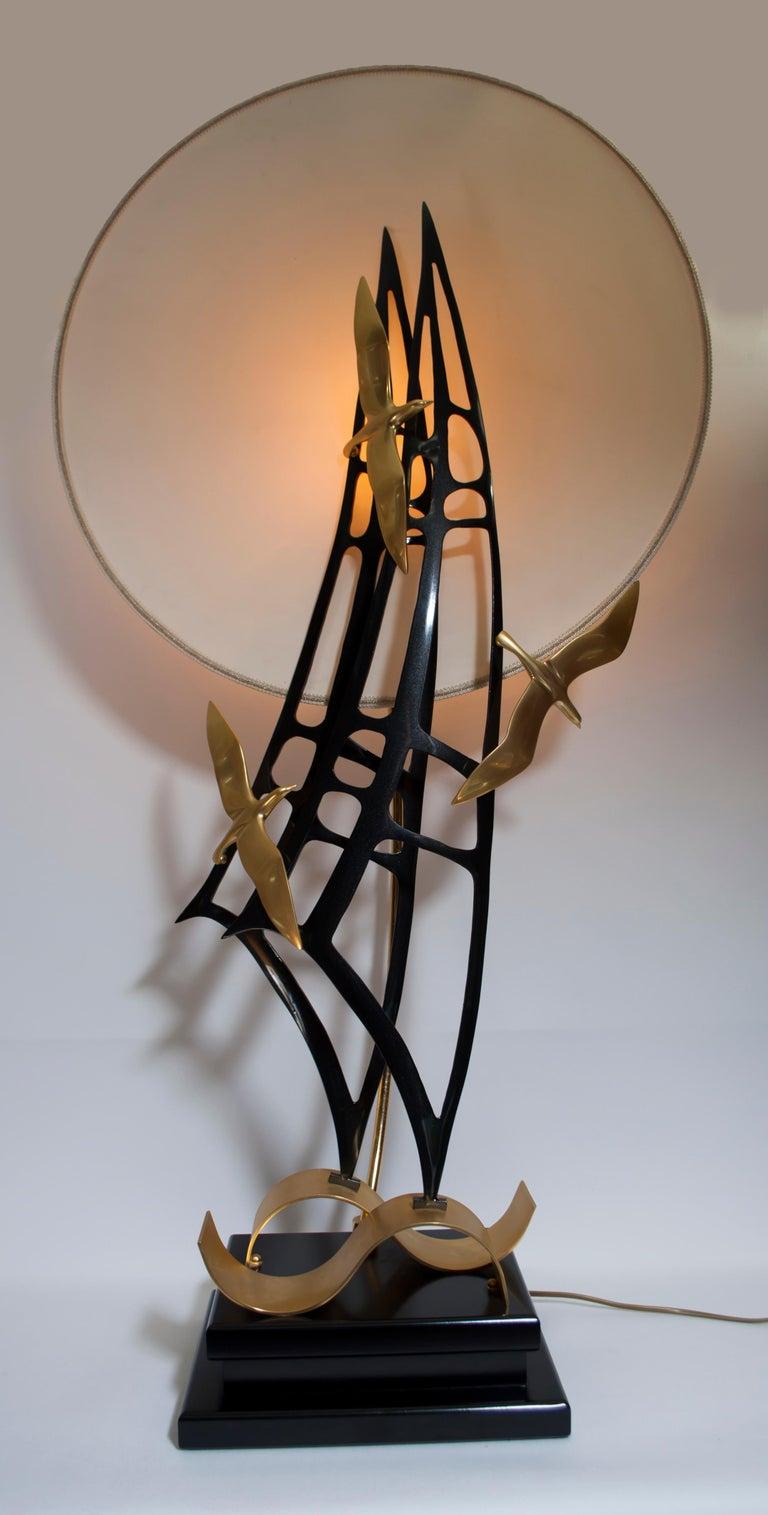 Mid-Century Modern Lanciotto Galeotti Midcentury Gold-Plated Lamp Italian by L'Originale, 1970s
