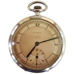 Lanco Pocket Watch 1950s, Chrome Case, Working, Slim Modern Design