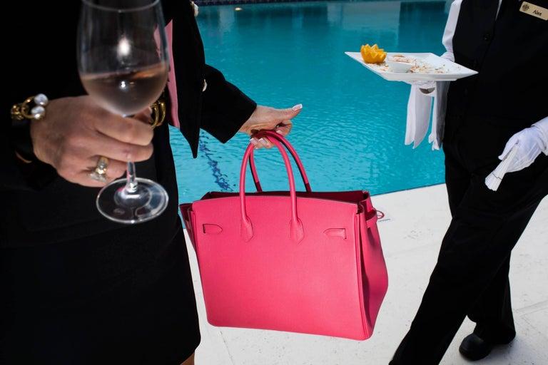 Landon Nordeman Color Photograph - Pink Bag, Mar-a-Lago, High Season series, Palm Beach