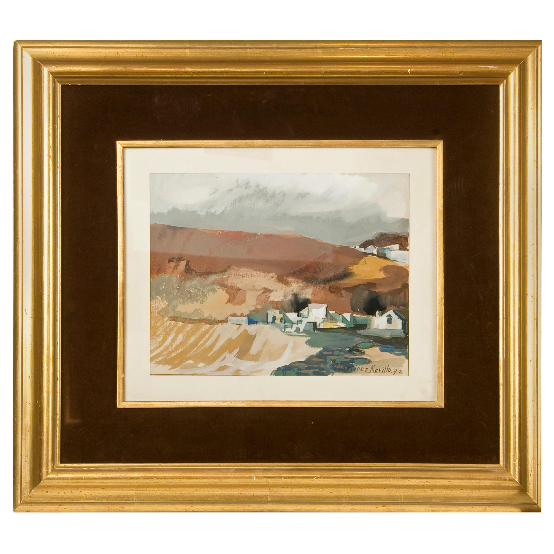 """Landscape"", 1972, Watercolor, Signed and Dated, Martínez Novillo, Cirilo"