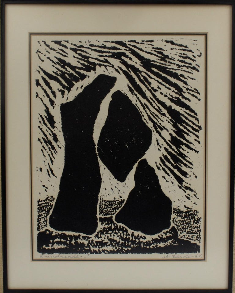 Canadian Landscape, a Mid-Century Modern Lithographic Print on Paper by Stanley Lewis For Sale