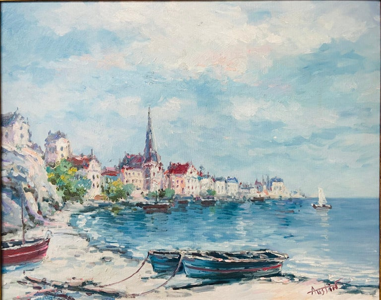 American Classical Landscape Beach Town Oil on Canvas Painting Signed by Artist Austin For Sale