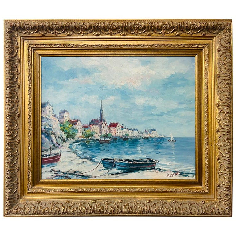 Landscape Beach Town Oil on Canvas Painting Signed by Artist Austin For Sale