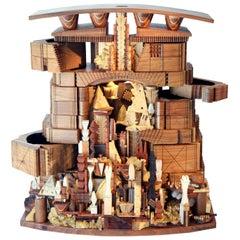 Landscape Box Lamp Unique Mix-Wood Sculpture by Po Shun Leong