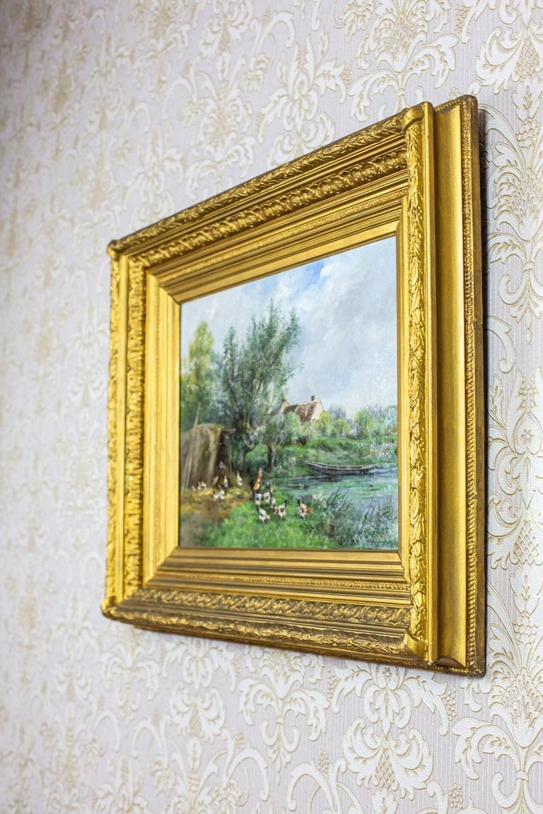 We present you a painting depicting the rural landscape, closed in a massive frame.