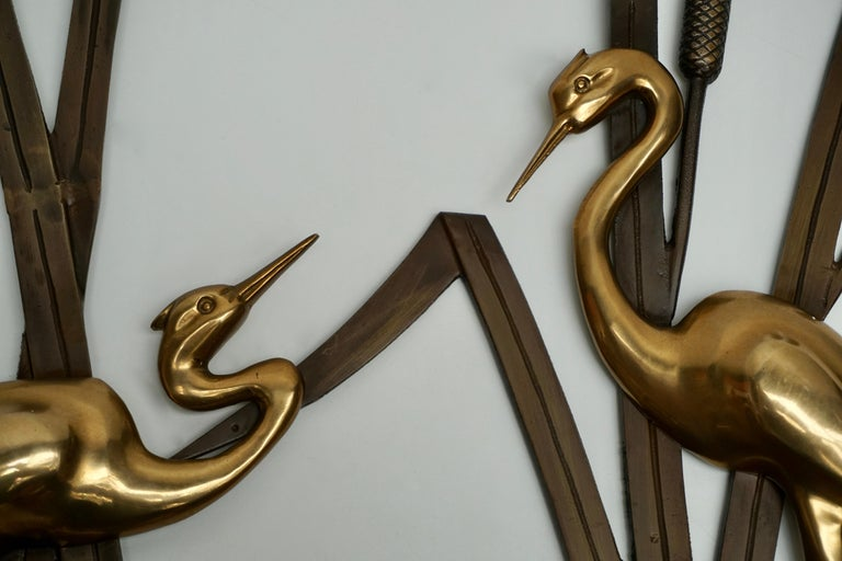 Hollywood Regency Landscape Crane Birds in Bronze and Brass Wall Decoration, 1960s For Sale