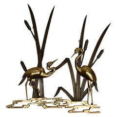 Landscape Crane Birds in Bronze and Brass Wall Decoration, 1960s