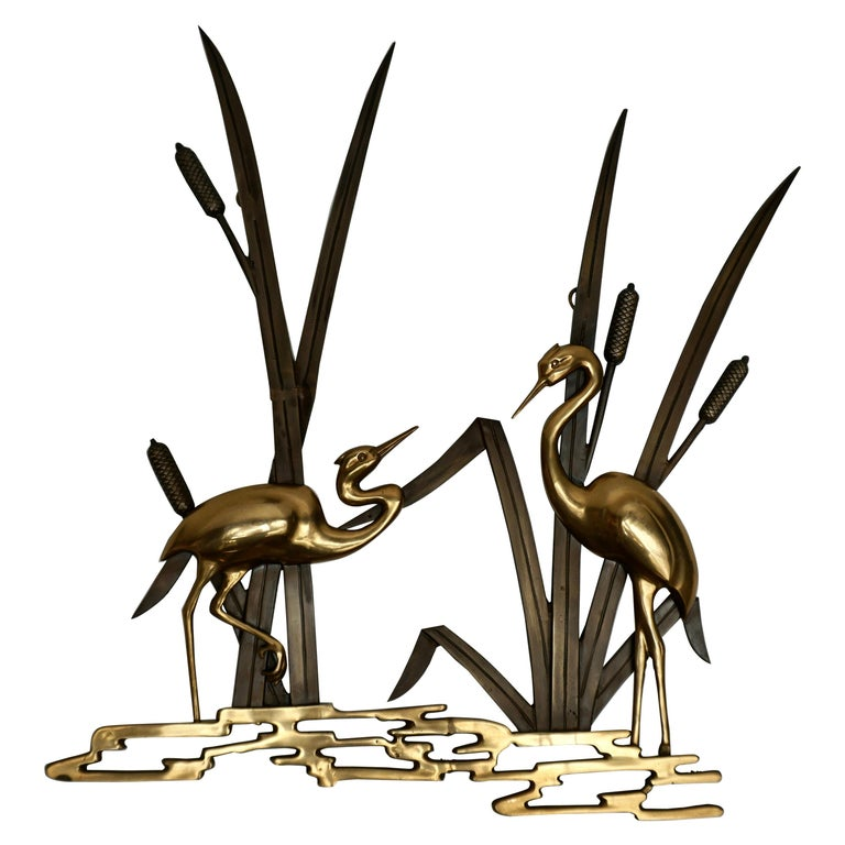 Landscape Crane Birds in Bronze and Brass Wall Decoration, 1960s For Sale