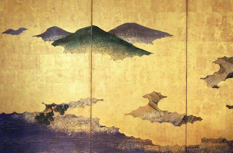 Landscape Edo 19 th. Century Japanese Folding Screen Six Panels In Good Condition For Sale In Brescia, IT