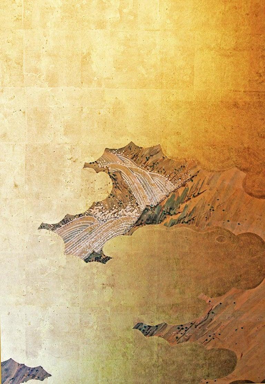 19th Century Landscape Edo 19 th. Century Japanese Folding Screen Six Panels For Sale