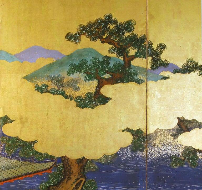 Gold Leaf Landscape Edo 19 th. Century Japanese Folding Screen Six Panels For Sale