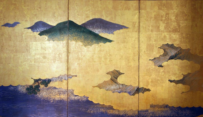 Landscape Edo 19 th. Century Japanese Folding Screen Six Panels For Sale 1
