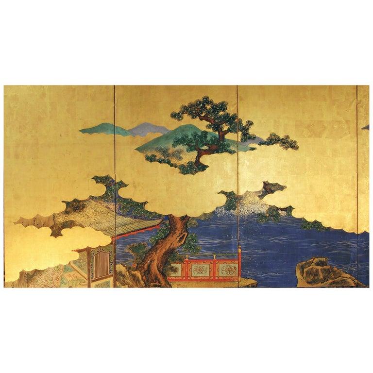 Landscape Edo 19 th. Century Japanese Folding Screen Six Panels For Sale