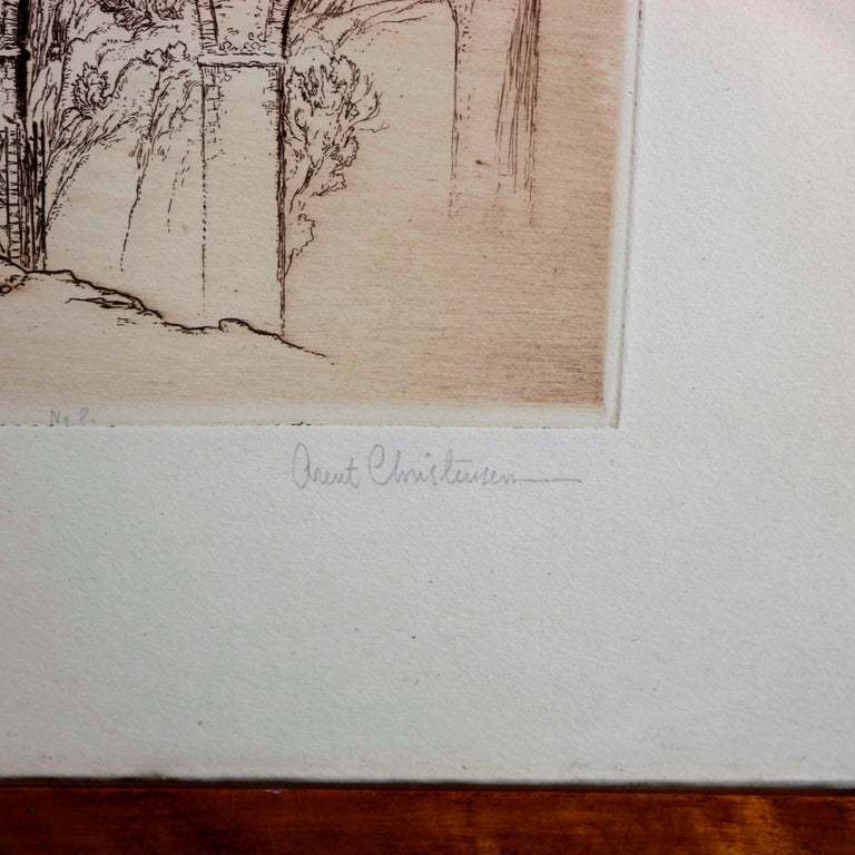 Dutch Landscape Etching with Stone Bridge & Figures by Arent Christensen, 20th Century For Sale